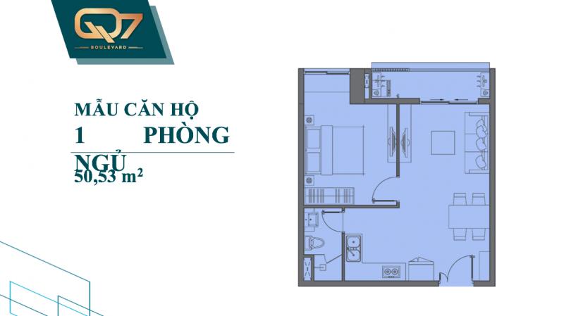 Bảng vẽ thiết kế chi tiết căn hộ Q7 Boulevard 1 phòng ngủ