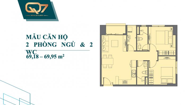 Bảng vẽ thiết kế chi tiết căn hộ Q7 Boulevard 2 phòng ngủ 2wc