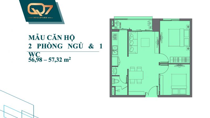 Bảng vẽ thiết kế chi tiết căn hộ Q7 Boulevard 2 phòng ngủ 1wc