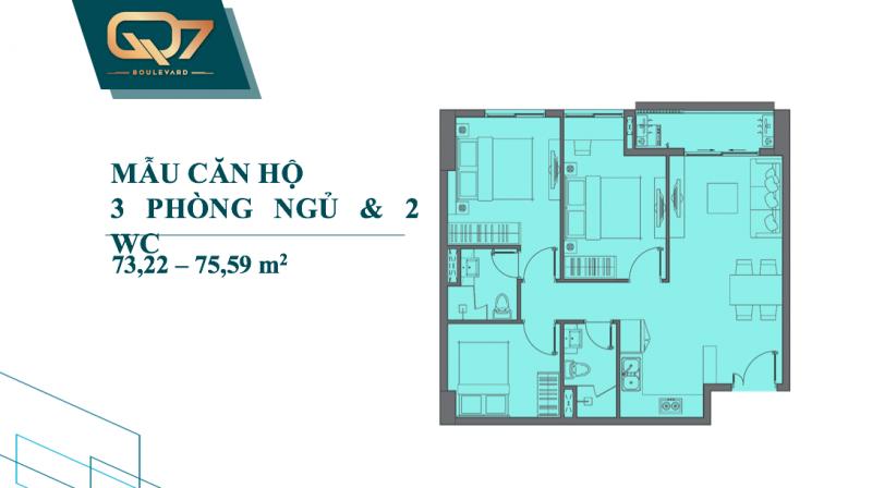 Bảng vẽ thiết kế chi tiết căn hộ Q7 Boulevard 3 phòng ngủ