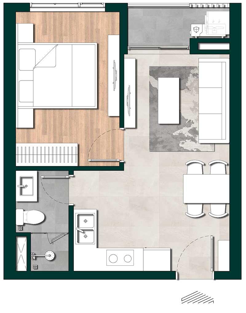 mẫu thiết kế căn hộ lavita thuận an 1 phòng ngủ
