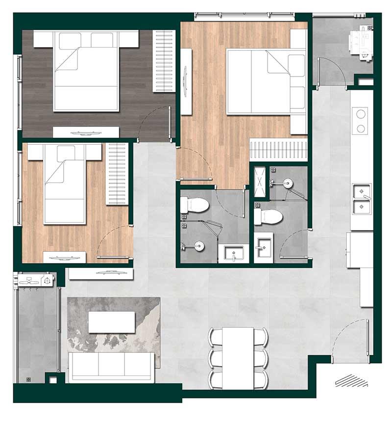 mẫu thiết kế căn hộ lavita thuận an 3 phòng ngủ