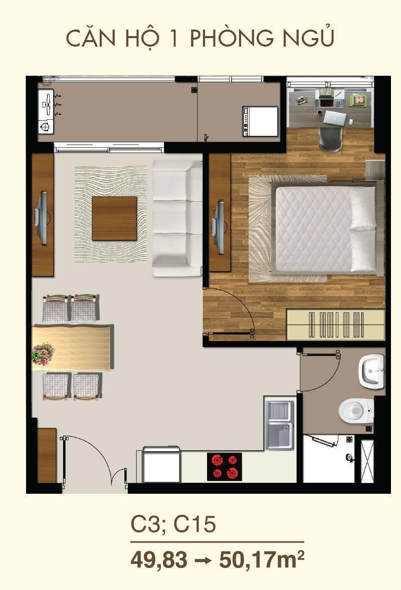 thiết kế căn hộ saigon mia 50m2