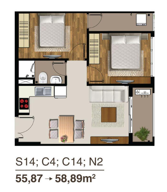 thiết kế căn hộ saigon mia 55m2