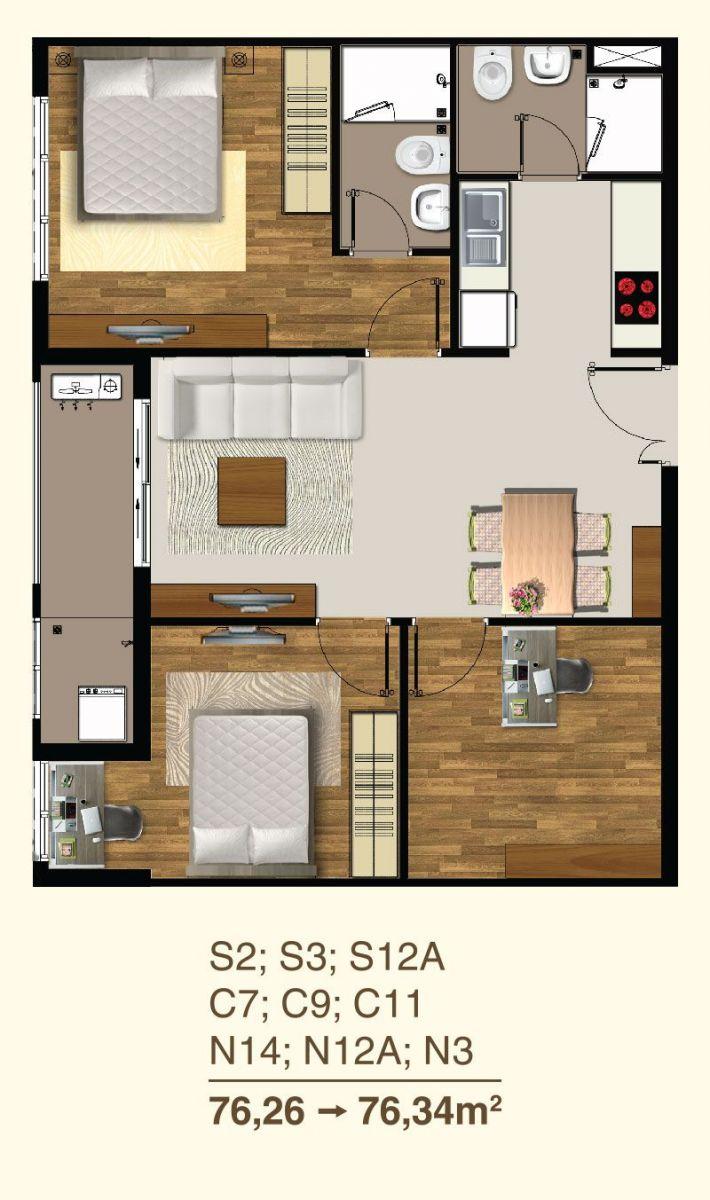 thiết kế căn hộ saigon mia 70m2