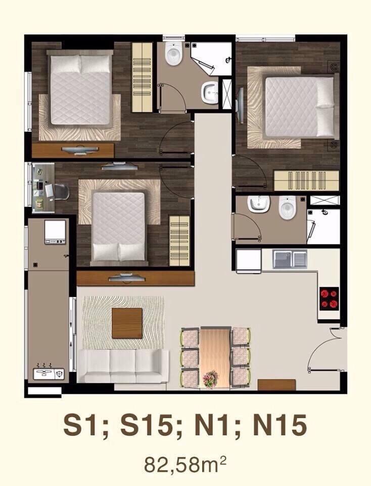 thiết kế căn hộ saigon mia 3 phòng ngủ