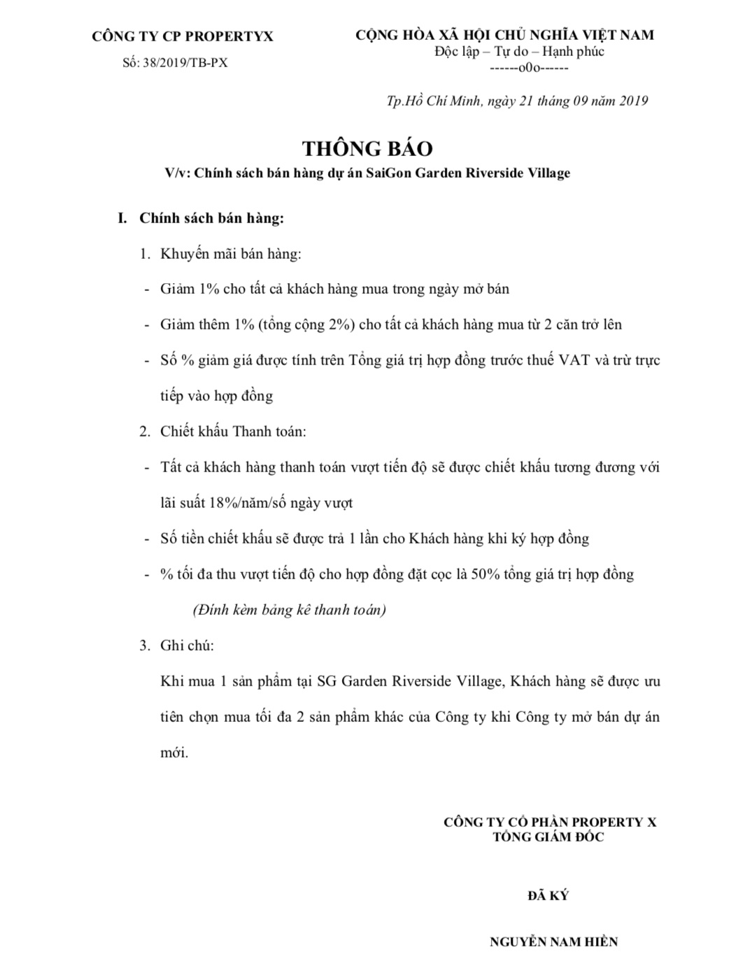 Chính sách khuyến mãi đang áp dụng tại dự án Saigon Garden Riverside Village