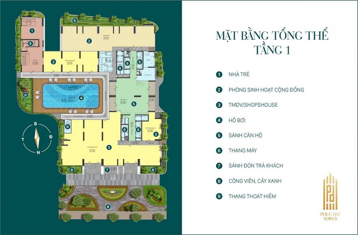Mặt bằng tổng thể tầng 1 dự án căn hộ Phúc Đạt Tower Bình Dương