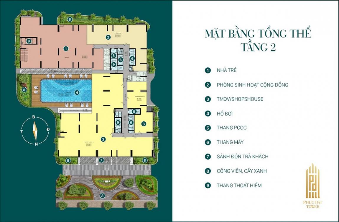 Mặt bằng tổng thể tầng 2 dự án căn hộ Phúc Đạt Tower Bình Dương