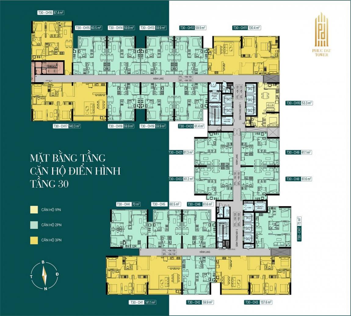 Mặt bằng tổng thể tầng 30 dự án căn hộ Phúc Đạt Tower Bình Dương