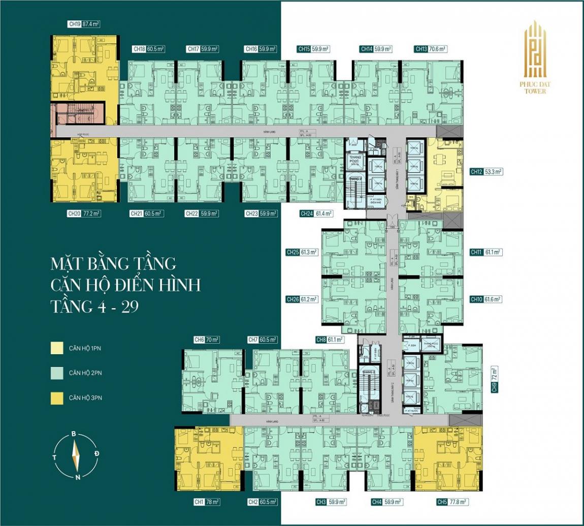 Mặt bằng tổng thể tầng 4 đến 29 dự án căn hộ Phúc Đạt Tower Bình Dương