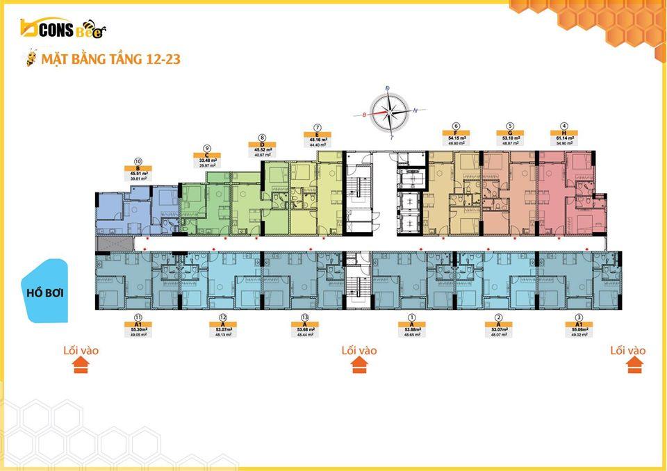 Mặt bằng tầng tầng 12 đến 23 dự án căn hộ Bcons Bee Trần Đại Nghĩa Dĩ An
