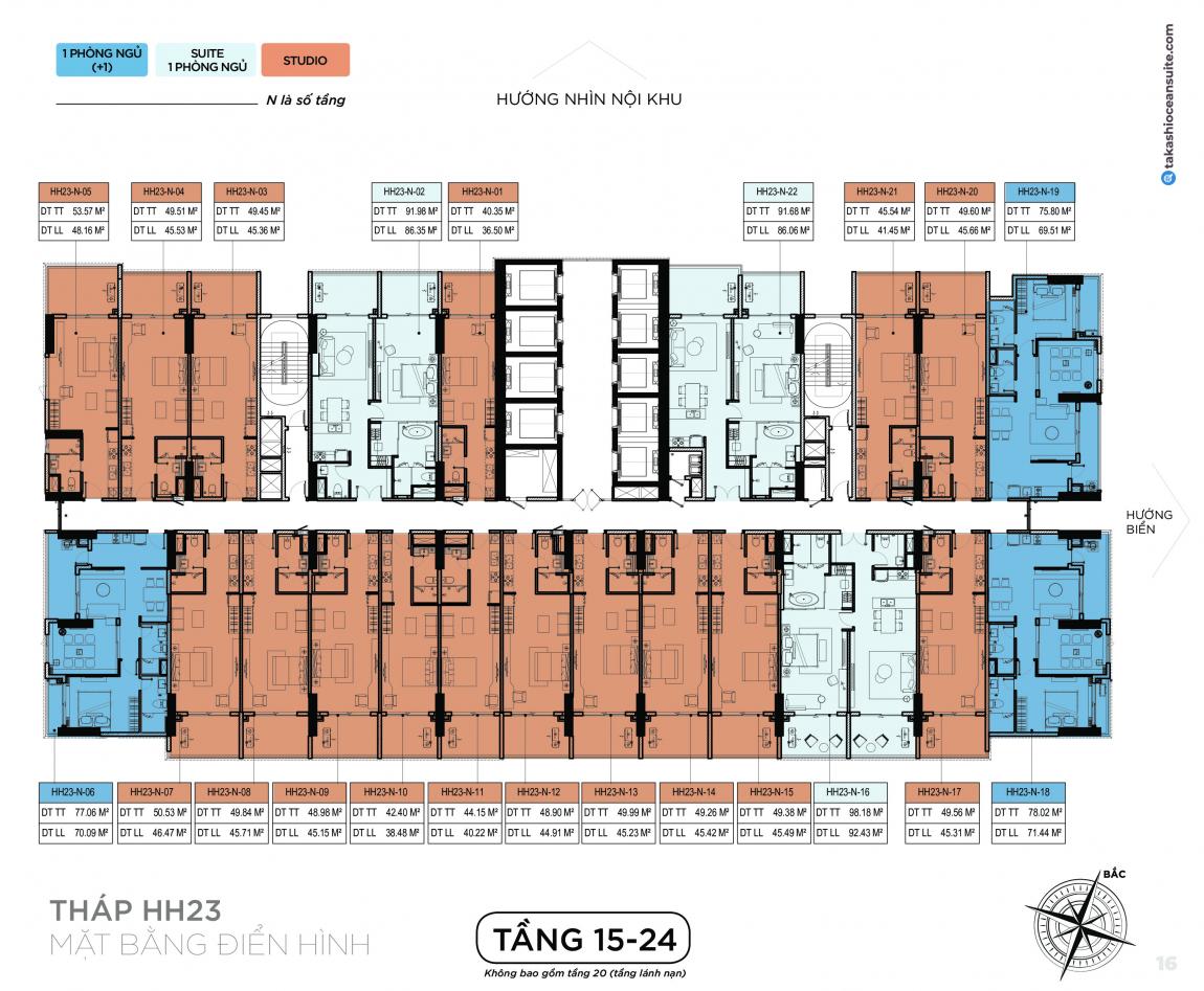 Mặt bằng thiết kế căn hộ Takashi tầng 15-24 - Block HH23