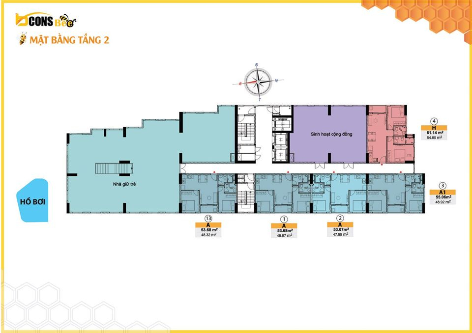 Mặt bằng tầng tầng 2 dự án căn hộ Bcons Bee Trần Đại Nghĩa Dĩ An
