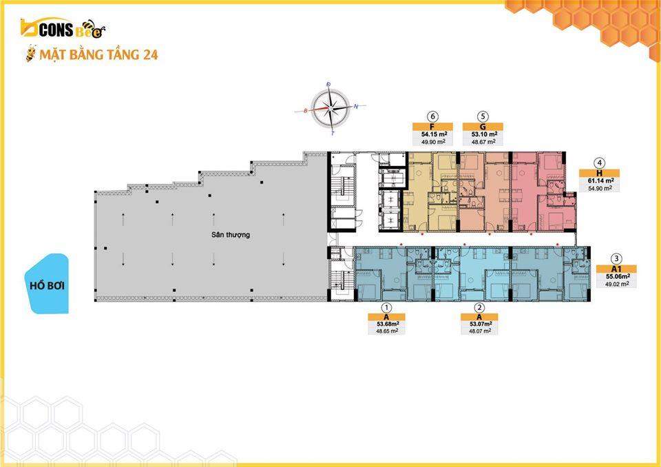 Mặt bằng tầng tầng 24 dự án căn hộ Bcons Bee Trần Đại Nghĩa Dĩ An