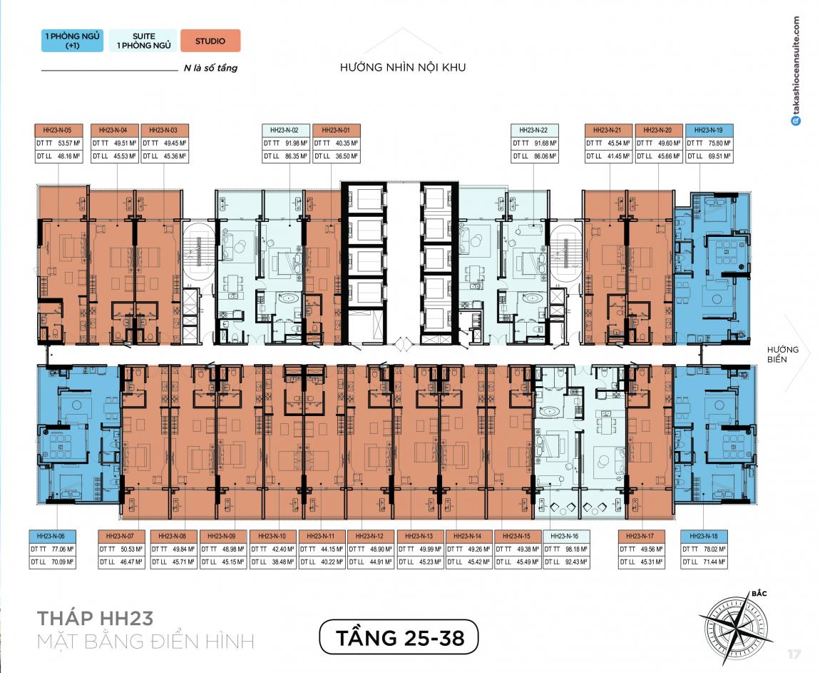 Mặt bằng thiết kế căn hộ Takashi tầng 25-38 - Block HH23