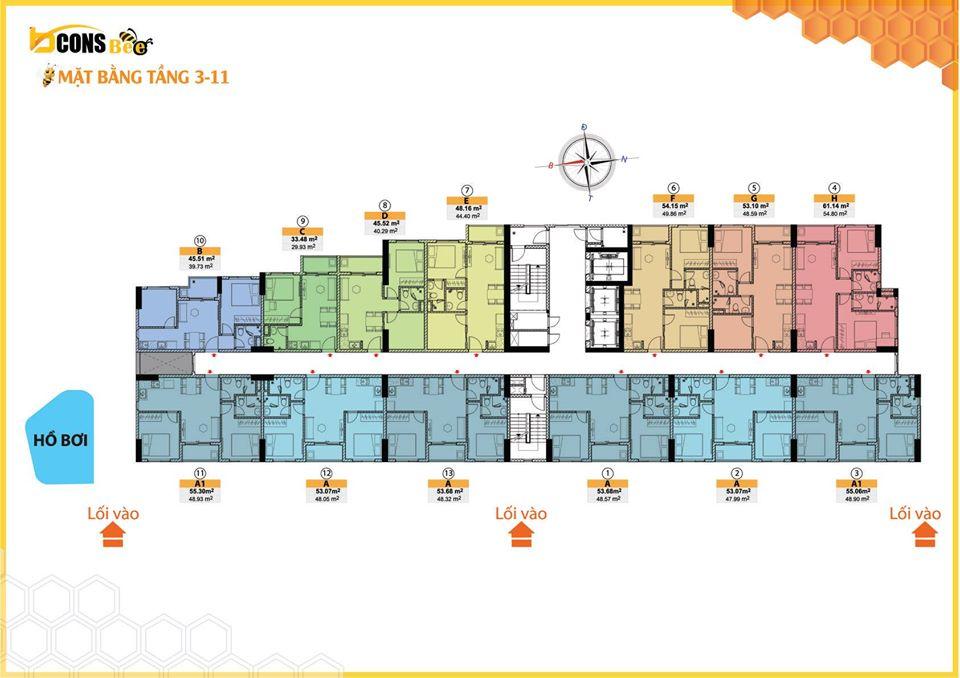 Mặt bằng tầng tầng 3 đến 11 dự án căn hộ Bcons Bee Trần Đại Nghĩa Dĩ An