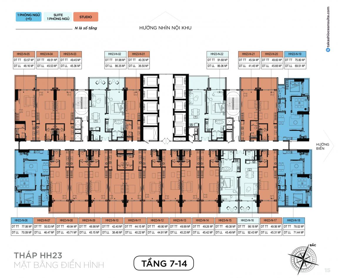 Mặt bằng thiết kế căn hộ Takashi tầng 7-14 - Block HH23