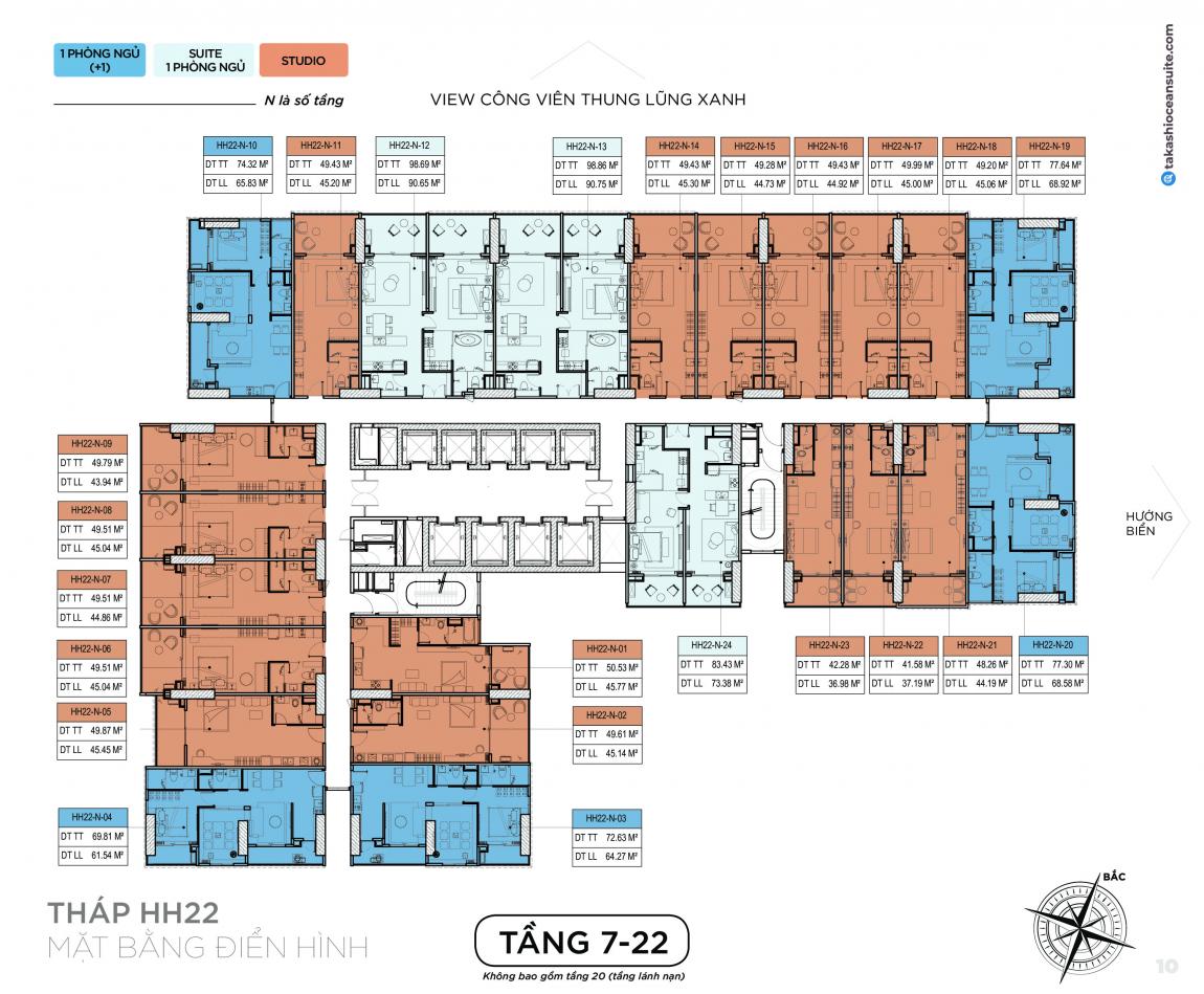 Mặt bằng thiết kế tầng 7-22 căn hộ Takashi Ocean Suite
