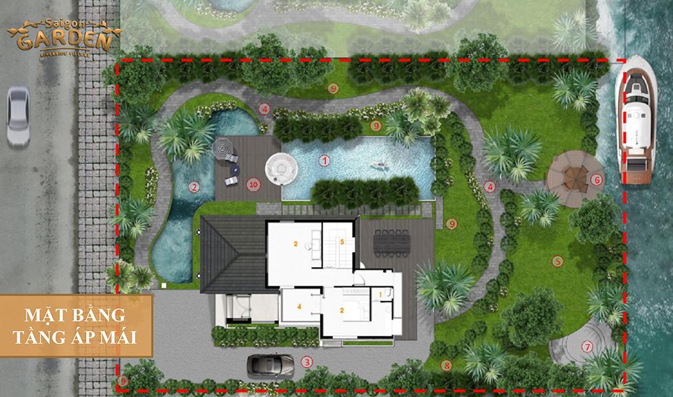 mặt bằng tầng áp mái mẫu 1 saigon garden quận 9