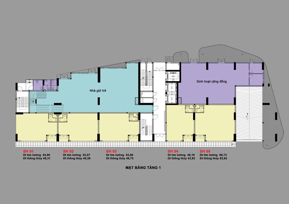 Mặt bằng tầng tầng trệt dự án căn hộ Bcons Bee Trần Đại Nghĩa Dĩ An