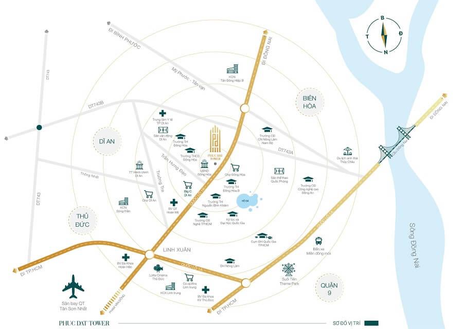 Sơ đồ vị trí dự án căn hộ Phúc Đạt Tower Bình Dương