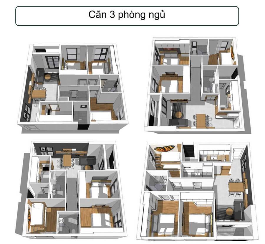 Mẫu thiết kế căn hộ 3PN dự án căn hộ Phúc Đạt Tower