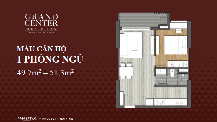 thiết kế căn hộ grand center 1 phòng ngủ