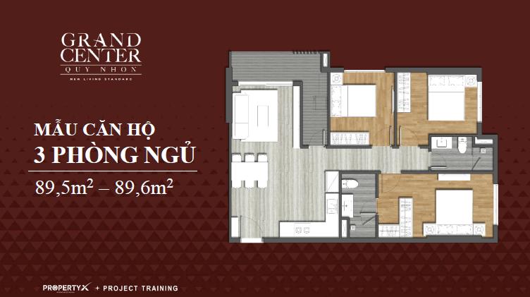 thiết kế căn hộ grand center 3 phòng ngủ