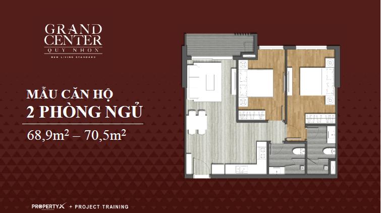 thiết kế căn hộ grand center 2 phòng ngủ