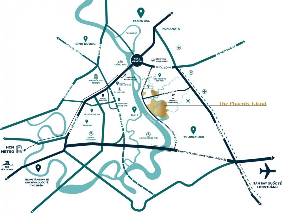 vị trí dự án aqua city long thành đồng nai