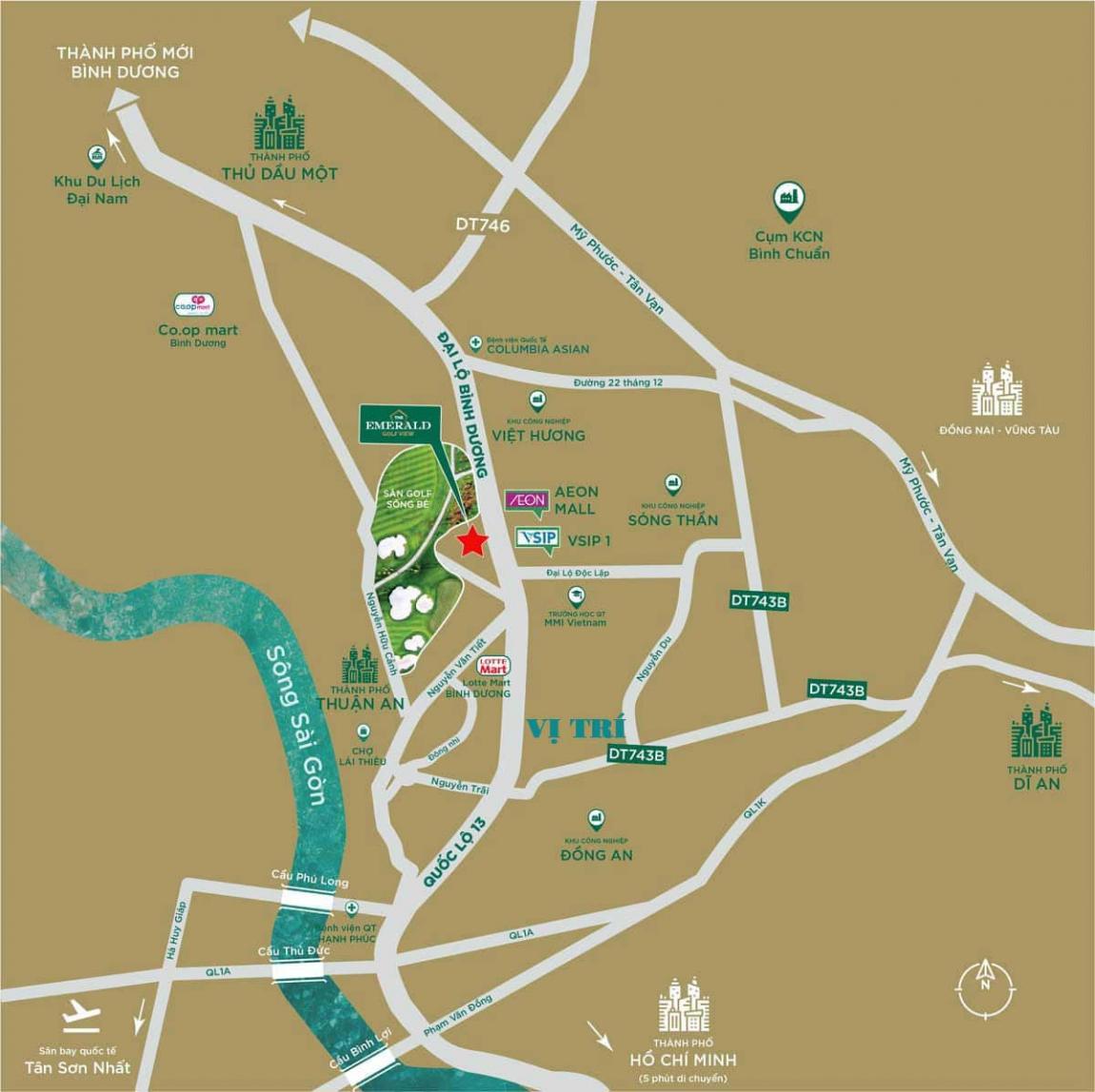 vị trí dự án căn hộ gem central park bình dương