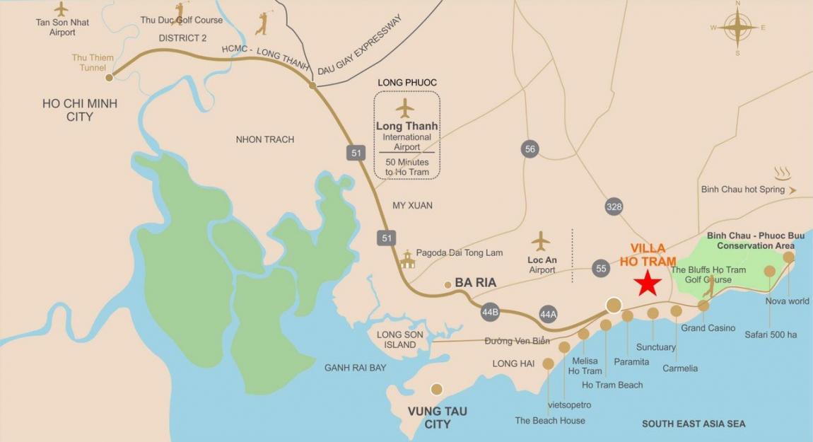 Vị trí dự án Hồ Tràm Pearl Hưng Thịnh