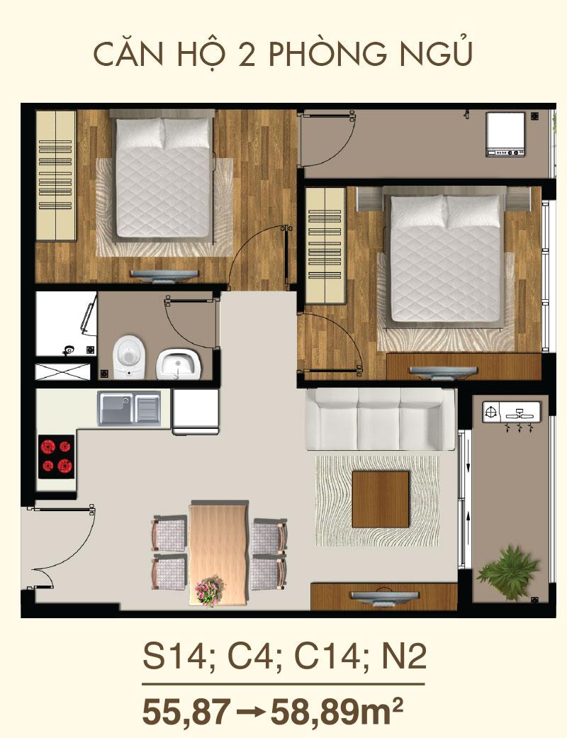 thiết kế căn hộ sàigon mia 4
