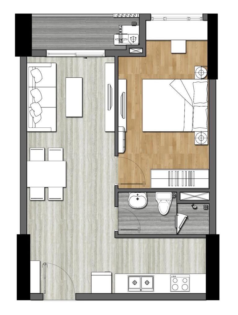 thiết kế căn 1 phòng ngủ 9x next gen