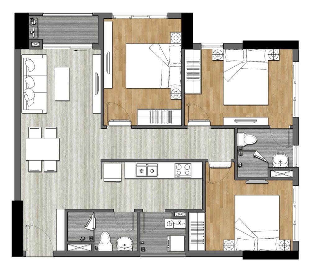 thiết kế căn hộ 3 phòng ngủ 9x next gen
