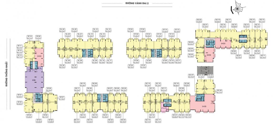 Mặt bằng dự án căn hộ 9x Next Gen tầng 1