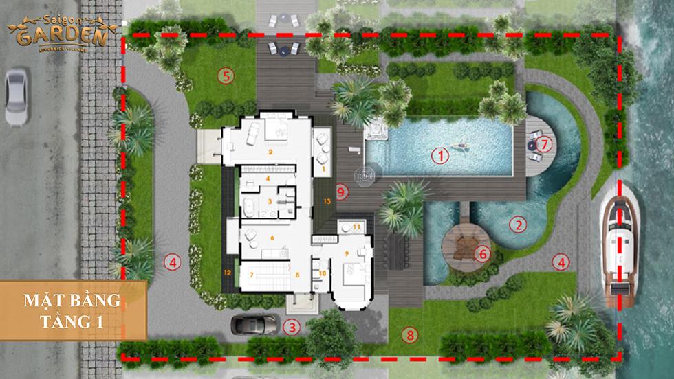 mặt bằng tầng 1 mẫu thiết kế 2 saigon garden