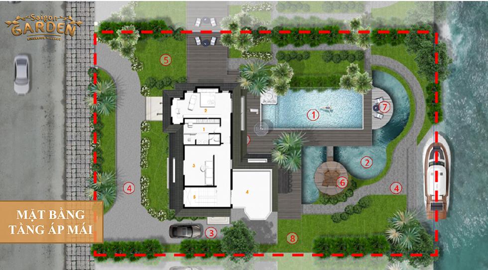 mặt bằng tầng áp mái mẫu 2 biệt thự saigon garden