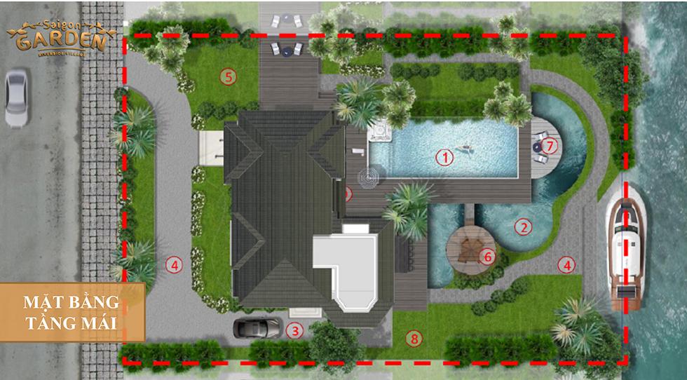 mặt bằng tầng mái mẫu 2 biệt thự saigon garden