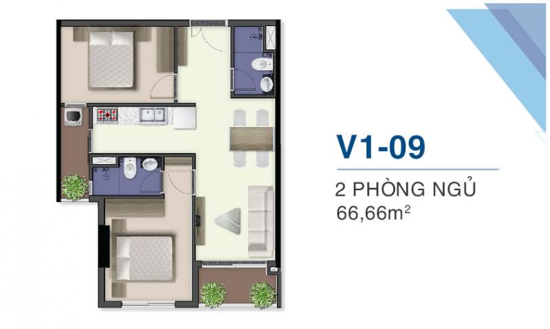 thiết kế căn hộ q7 saiogn riverside 2 pn