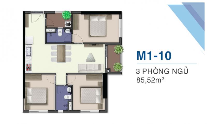 thiết kế căn hộ q7 saiogn riverside 3 pn