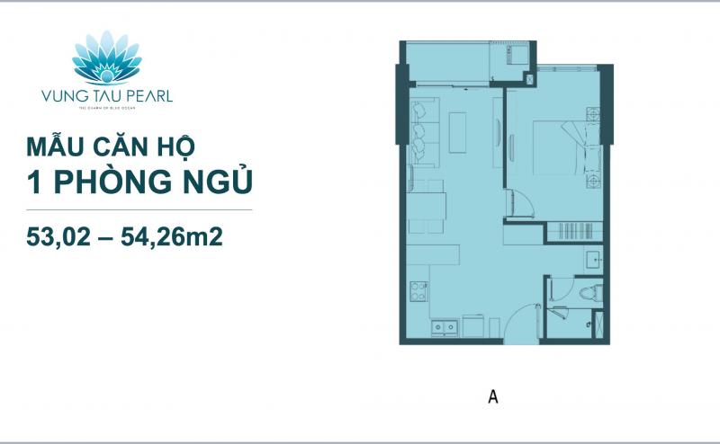 thiết kế căn hộ vũng tàu pearl 1 phòng ngủ