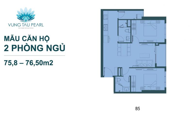 thiết kế căn hộ vũng tàu pearl 2 phòng ngủ