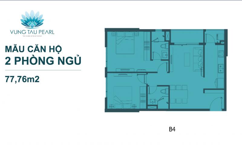thiết kế căn hộ vũng tàu pearl 3 phòng ngủ