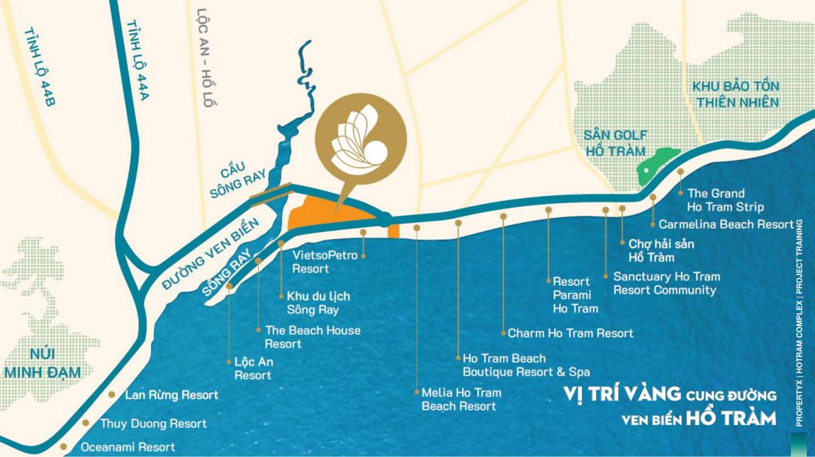 vị trí dự án hồ tràm complex hưng thịnh