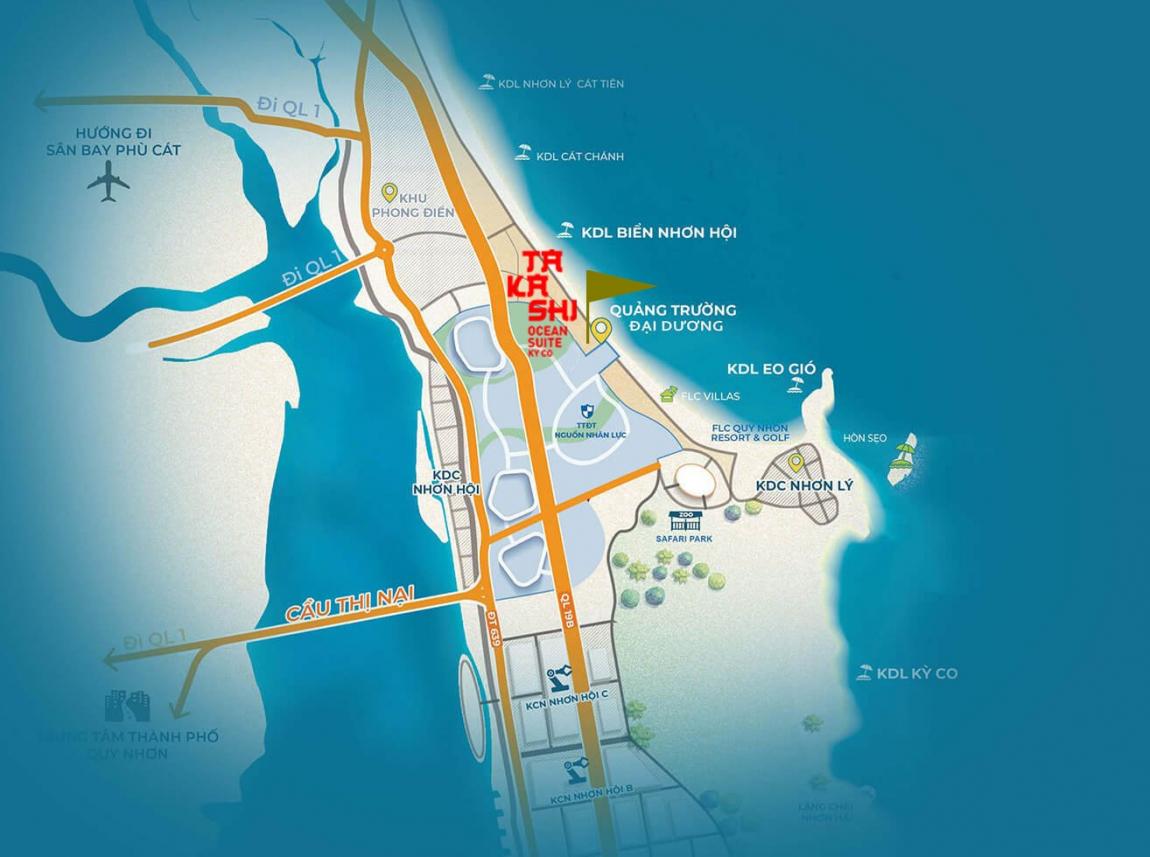 Vị trí căn hộ Takashi Ocean Suite Kỳ Co