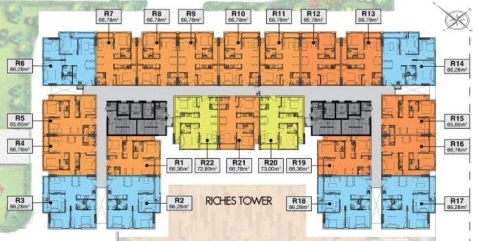 mặt bằng Block riches tower căn hộ richmond city