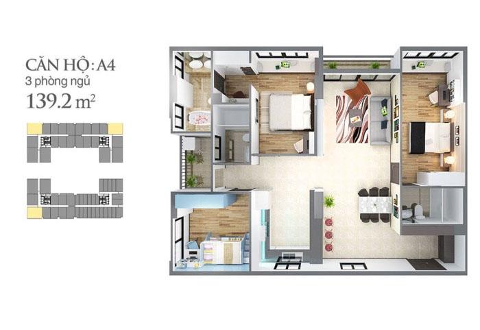 mẫu căn hộ sky center 96,48 m2