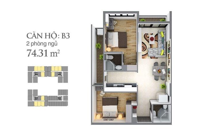 mẫu căn hộ sky center 74,34 m2